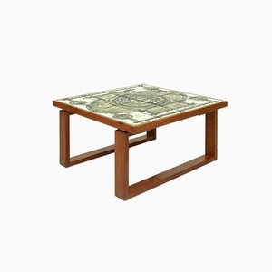 Danish Teak & Ceramic Coffee Table by Ox-Art for Trioh, 1977