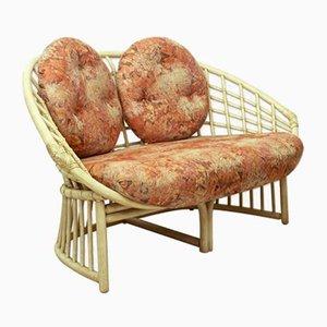 Mehrfarbiges Deutsches Zwei-Sitzer Sofa aus Rattan & Stoff von Flechtatelier Schütz, 1970er