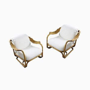 Vintage Babou Armchairs with White Bouclé Cushions by Carlo De Carli, Set of 2