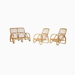 Canapé et 2 Fauteuils Vintage en Bambou, Set de 3