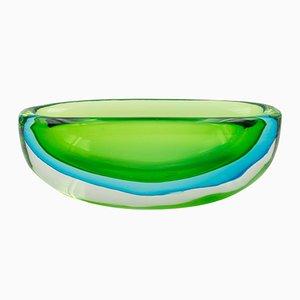 Große Vintage Schale aus grünem & blauem Glas von Flavio Poli für Seguso Vetri d'Arte