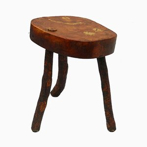 French Live Edge Olive Wood Stool, 1920s