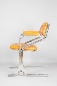 Cognac Skai & Tubular Metal Dining Chairs, 1970s, Set of 4