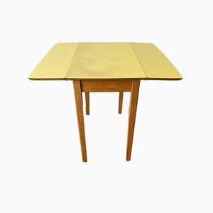 Vintage British Yellow Formica Drop Leaf Dining / Kitchen Table