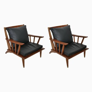 Teak & Leather Lounge Chair Set, 1960s, Set of 2