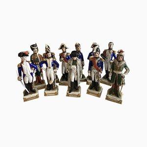 Sächsische Statuetten aus Porzellan mit napoleonischen Figuren von Scheibe-Alsbach Thüringen, 11er Set