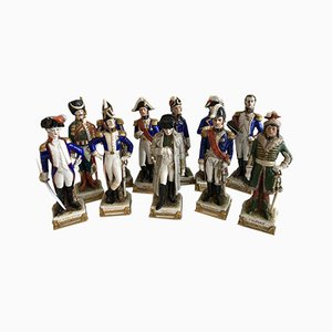Saxon Porcelain Statuettes Depicting Napoleonic Figures from Scheibe-Alsbach Thuringia, Set of 11