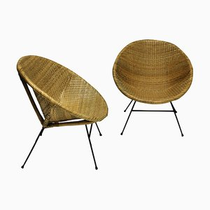 French Rattan Lounge Chairs, 1950s, Set of 2