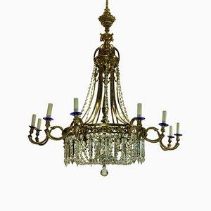 Lampadario grande Regency in bronzo dorato e vetro antico