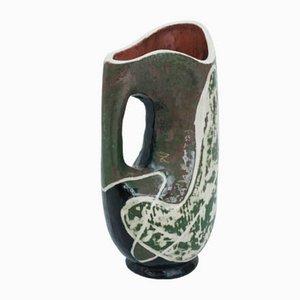 Jarrón francés brutalista de cerámica, años 50