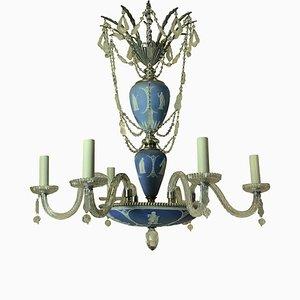 Antiker Englischer Kronleuchter aus Versilbertem Metall, Jasperware & Geschliffenem Glas von Wedgwood