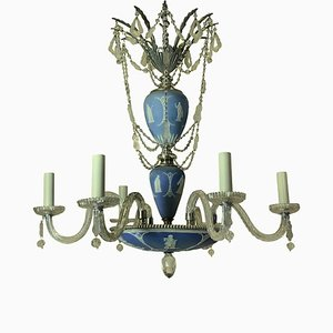 Antique English Silver-Plated Metal, Jasperware & Cut Glass Chandelier from Wedgwood
