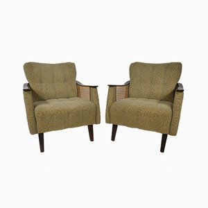 Mid-Century Wicker Lounge Armchairs, 1960s, Set of 2