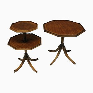 Antique English Octagonal Mahogany Side Tables, Set of 2