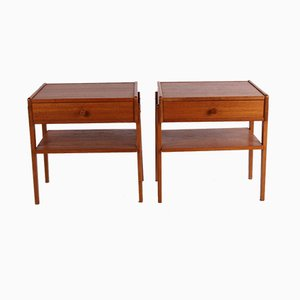 Danish Teak Bedside Tables with Wooden Knobs, Set of 2