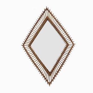 Italian Rhomboidal Bamboo Mirror by Franco Albini, 1950s