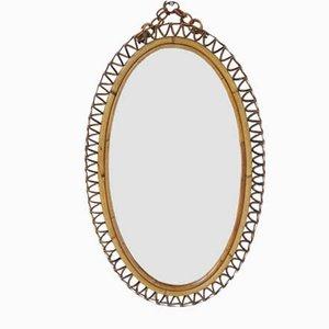 Italian Oval Bamboo Mirror by Franco Albini, 1950s