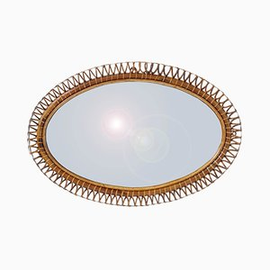 Italian Horizontal or Vertical Oval Bamboo Mirror by Franco Albini, 1950s