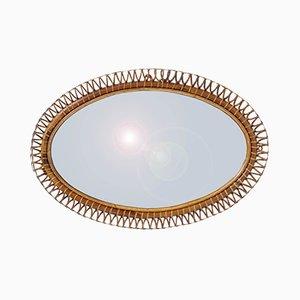 Specchio ovale ovale in bambù di Franco Albini, Italia, anni '50