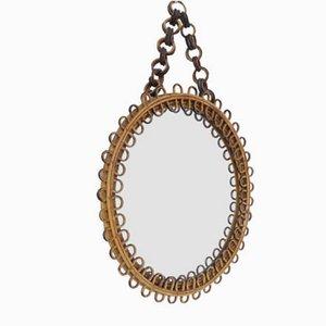 Small Round Italian Bamboo Mirror by Franco Albini, 1950s