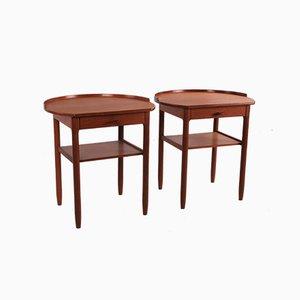 Vintage Round Topped Side Tables by Engström & Myrstrand for Bodafors of Sweden, 1964, Set of 2