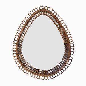 Italian Bamboo Teardrop Mirror by Franco Albini, 1950s