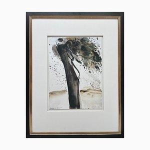 Oskar Koller, acquerello, albero nel vento