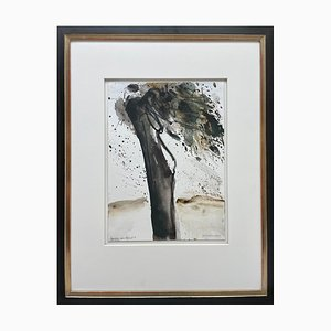 Oskar Koller, Aquarell, Baum im Wind