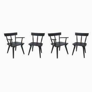 Französische Schwarze Lärche Sessel von Jean Royère, 1950er, 4er Set