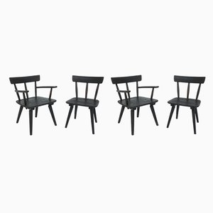 French Black Solid Larch Armchairs by Jean Royère, 1950s, Set of 4