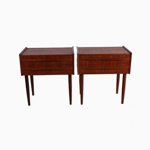Dänische Teak Nachttische mit 2 Schubladen, 1960er, 2er Set