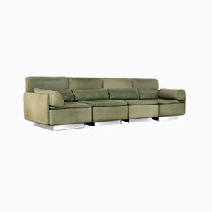 Olive Green Sectional 4-Seater Hollywood Lounge Sofa by Walter Knoll for Knoll, 1972