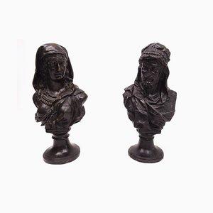 Antike Büsten aus Bronze mit Darstellung klassischer Figuren, 2er Set