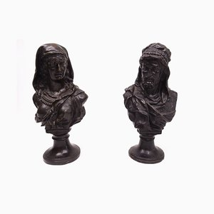 Antique Bronze Busts Portraying Classical Characters, Set of 2