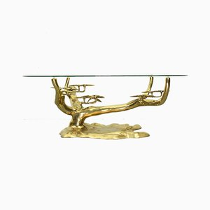 Bonsai-Shaped Brass & Glass Coffee Table by Willy Daro, 1970s