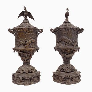 Pierre Jules Mêne (1810-1879) -Pair of bronze urn goblet finely carved with plant and animal motifs.