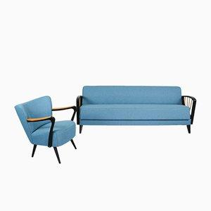 Vintage Sitzgruppe mit Gestell aus schwarzem Gestell & Birkenholz, 1950er, 2er Set