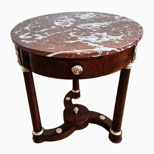 Empire Period Mahogany Veneer Pedestal Table with Helix Spacer