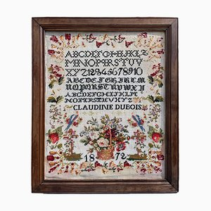 Framed Alphabet Primer Cross Stitch, 1872
