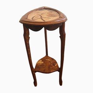 Table Sellette Art Nouveau Vintage avec Étagères Incrustées