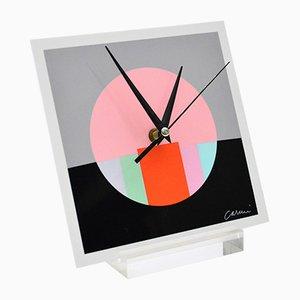 Orologio da tavolo vintage in plexiglas serigrafato di Eugenio Carmi