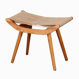 Czech Wood and Cord Stool from Uluv, 1960s