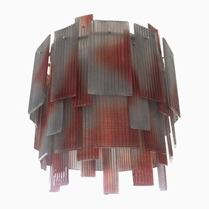Mid-Century Round Red & Gray Murano Art Glass Chandelier, 1970s