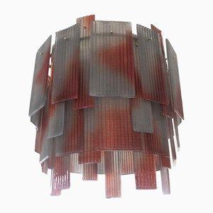 Runder Mid-Century Murano Glaskrug in Rot & Grau, 1970er