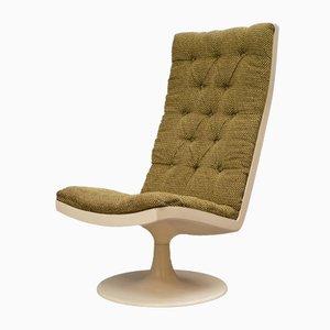 Mid-Century Green Velvet Armchair & Ottoman Set, 1970s