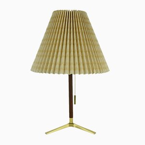 Brass & Teak Table Lamp with Pleated Textile Shade by J. T. Kalmar for Kalmar, 1950s