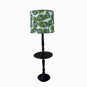 Round Dark Stained Wood Side Table with Rotating Top, Integrated Floor Lamp & Green Patterned Fabric Lampshade, 1950s