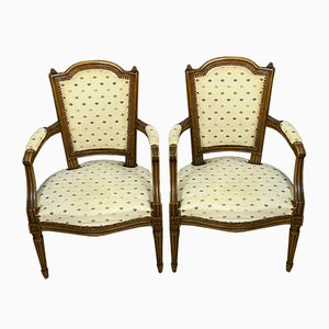 Louis XVI Walnut Armchairs with Spotted Upholstery, Circa 1850, Set of 2