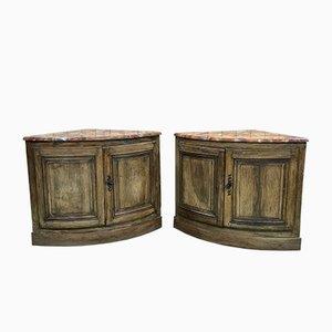 Oak and Walnut Corner Cabinets, 1700s, Set of 2