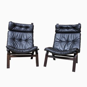 Leather Lounge Chairs by Ingmar Relling, Set of 2